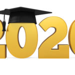 Gold 2020 with Graduation Cap on the first 0
